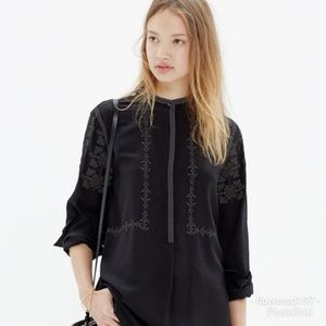 Madewell Embroidered Silk Top
